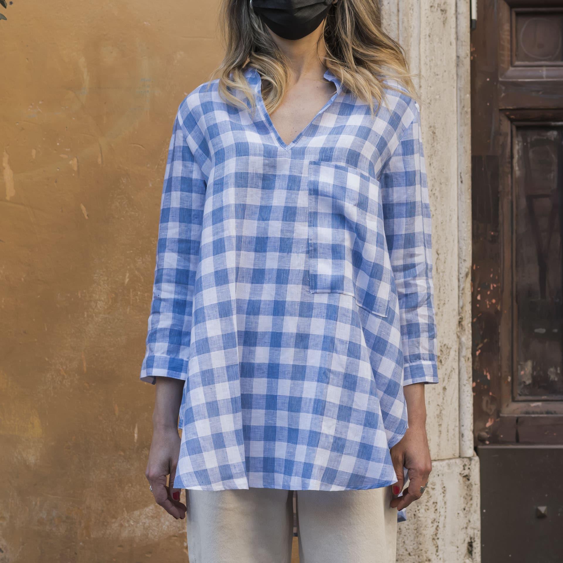 Hang On camicia quadri lino