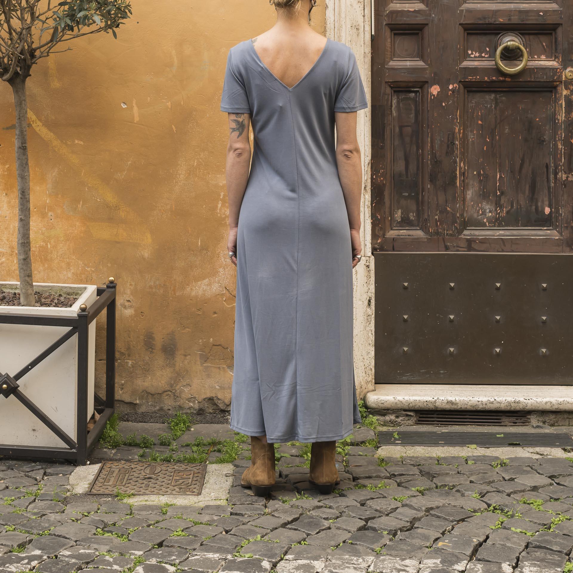 Minimum abito lungo tencel azzurro (1)